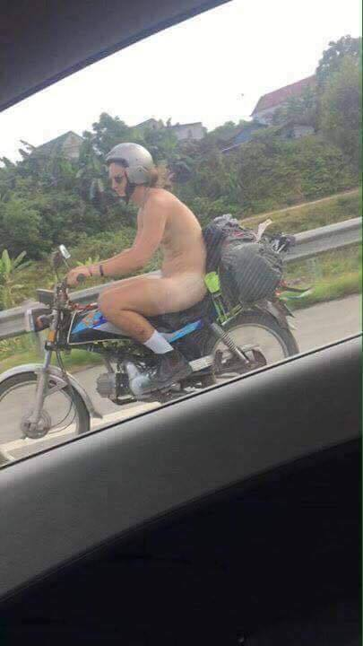 foreigner driving naked