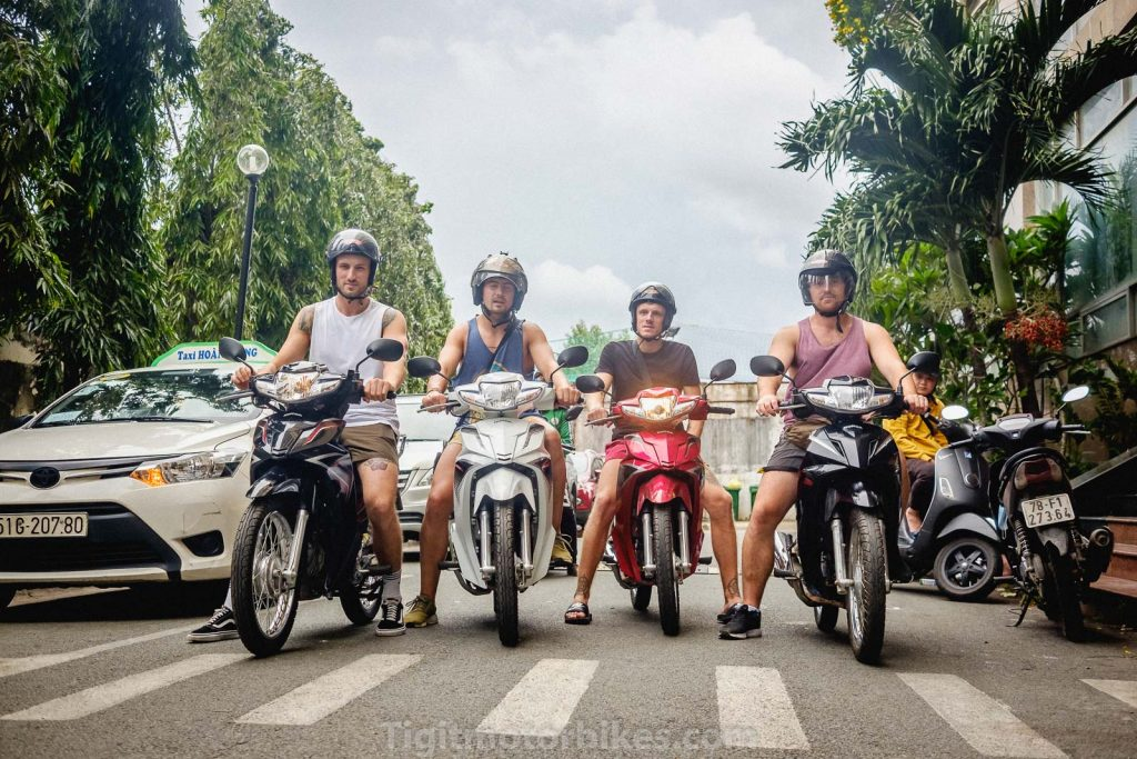 A group of travelers on Honda Blades