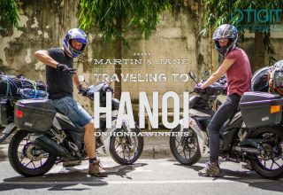 Martin and Jane traveling to Hanoi on 2 Honda Winners