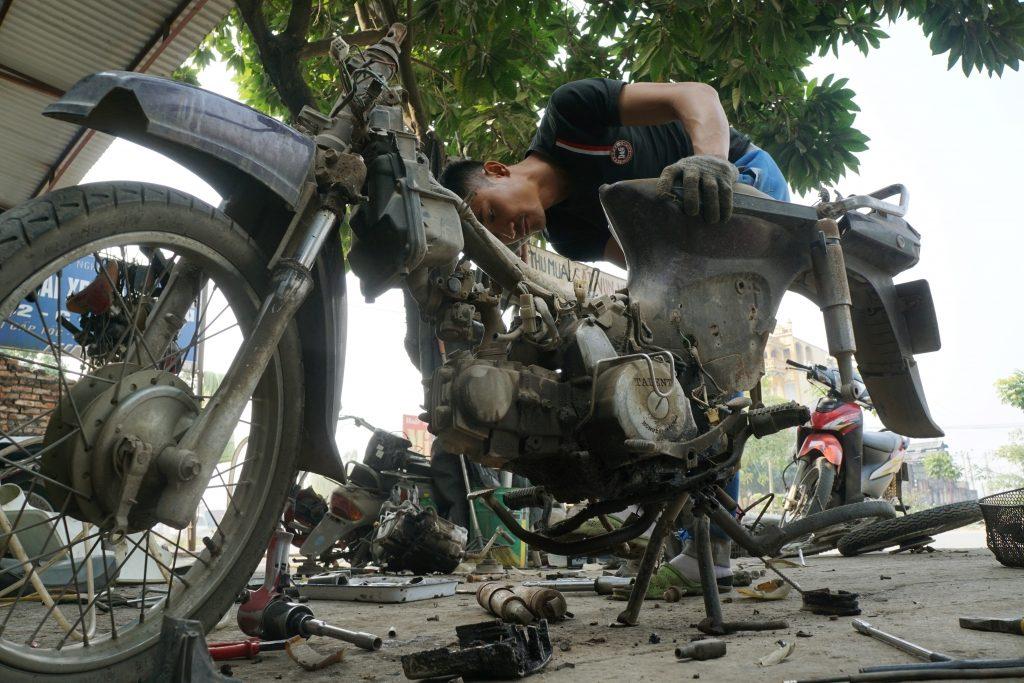 a Chinese motorbike taken apart