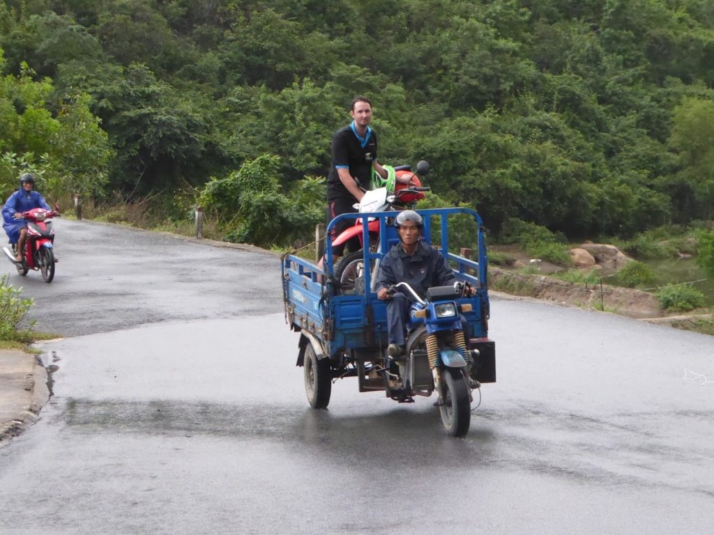 riding with a cart motorbike on the way to the repair shop