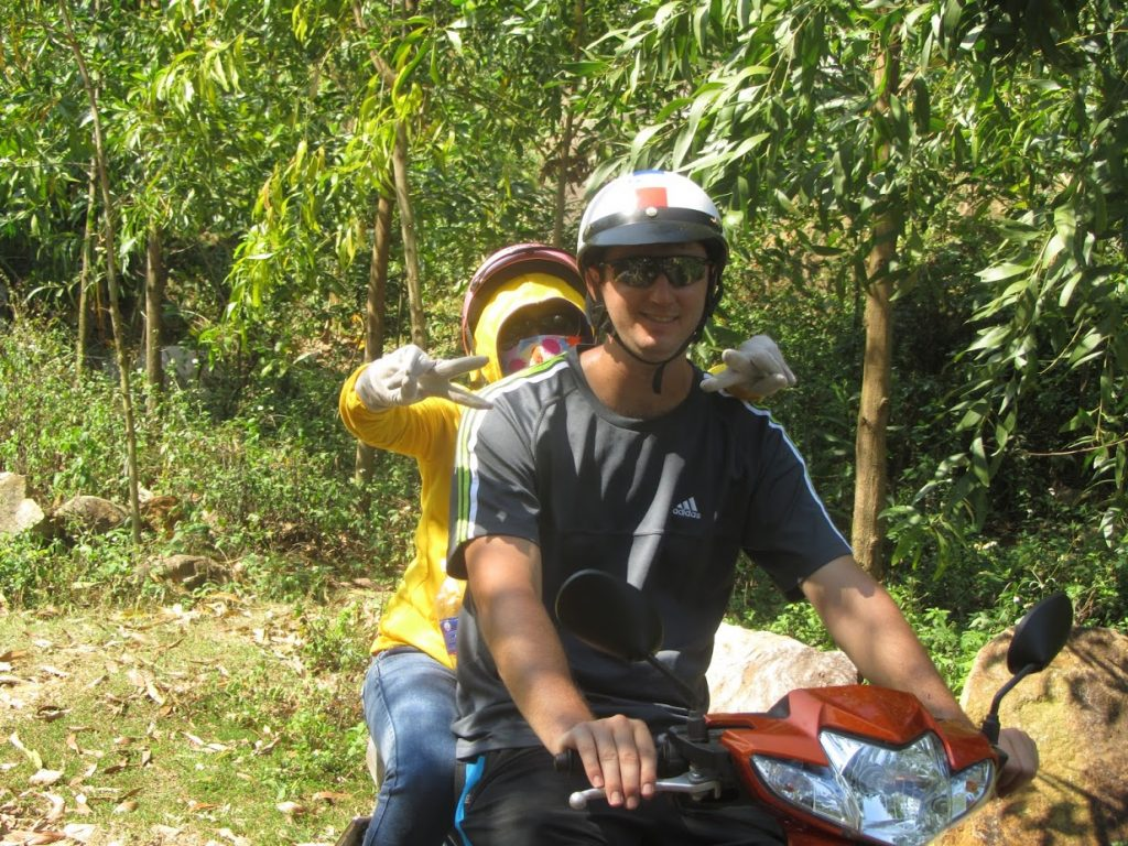 riding a motorbike in the Vietnam countryside