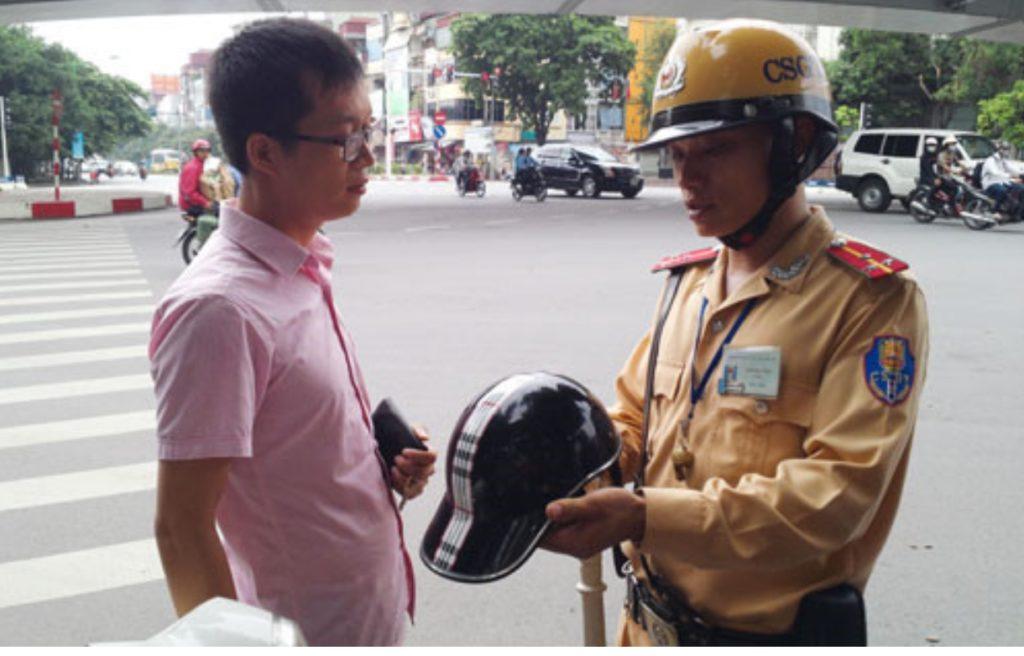Helmets Vietnam Police Inspect