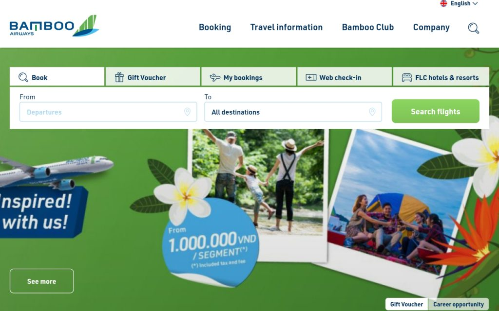 Bamboo Airlines Home Page