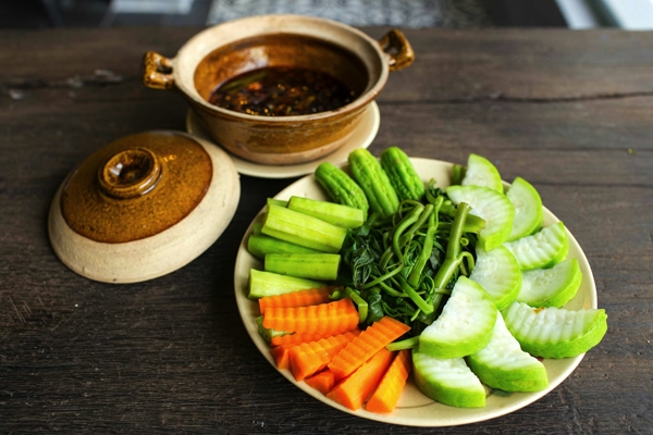 Caramelised fish sauce and vegetables