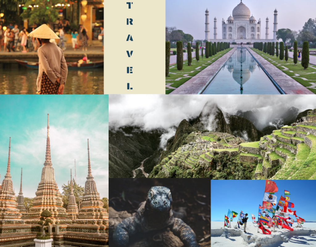 Budget travel collage